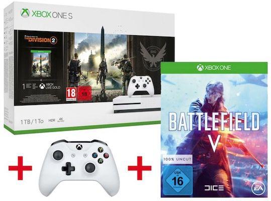 Xbox One S 1TB + The Division 2 + Battlefield V + 2. Controller für 219€ (statt 293€)