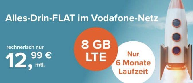 Vodafone Allnet Flat mit 8GB LTE für effektiv 12,99€ mtl. bei nur 6 Monaten Laufzeit