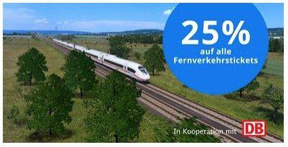 Nur noch heute: Deutsche Bahn: 25% Rabatt im Fernverkehr innerhalb Deutschlands bis zum 24.11.2019