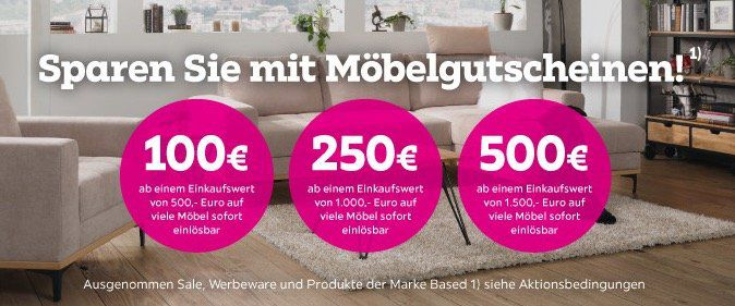 Mömax: Mit Gutscheinen bis Montag bis zu 500€ auf Möbel sparen