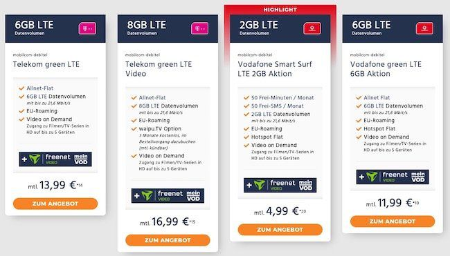 mobilcom SIM only Tarife   z.B. Telekom Flat mit 6GB LTE für 13,99€ mtl. oder Vodafone 2GB LTE nur 4,99€ mtl.