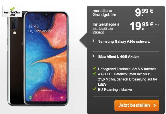 Samsung Galaxy A20e für 19,95€ + o2 Flat mit 4GB LTE für 9,99€mtl.
