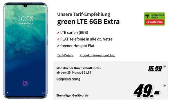 ZTE Axon 10 Pro einmalig 1€ + Vodafone Allnet Flat mit 6GB LTE für 16,99€ mtl.