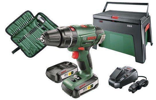 Bosch PSB 18 LI 2 Schlagbohrschrauber inkl. 39 teiliges Zubehörset mit Werkzeugbox für 155,90€(statt 184€)