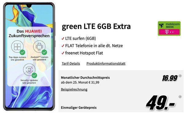 Pricedrop! Huawei P30 für 49€ + Telekom Allnet Flat mit 6GB LTE für 16,99€mtl.