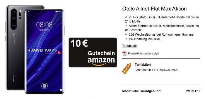 Huawei P30 Pro für 49€ + gratis 10€ Amazon Gutschein + Vodafone Flat mit 20GB LTE für 29,99€ mtl.