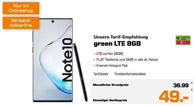 Samsung Galaxy Note 10 für 49€ + Allnet Flat im Telekom Netz mit 8GB LTE für 36,99€ mtl.