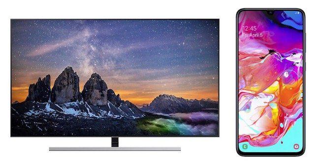 Samsung GQ65   65 Zoll QLED UHD Fernseher ab 1.799€ (statt 1.828€) + Samsung Galaxy A70 geschenkt