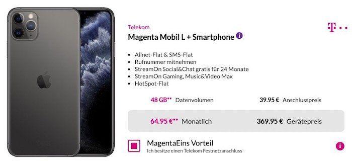 Apple iPhone 11 Pro Max 64GB  für 369,95€ + Telekom Magenta Mobil L mit 24GB LTE für 69,95€mtl.   mit MagentaEins sogar 48GB