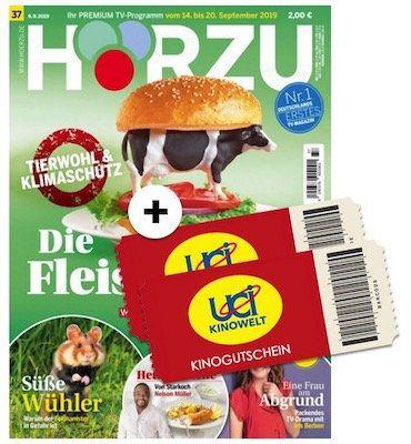 52 Ausgaben HÖRZU + 2 UCI Kino Gutscheine (auch Überlänge) für insgesamt 14,90€