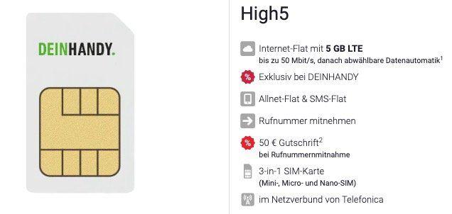 TOP! o2 Flat mit 5GB LTE (ohne Laufzeit!) für 9,99€ + nur 4,99€ Anschluss + 50€ bei Rufnummermitnahme