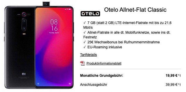 Xiaomi Mi 9T Pro für 74€ + Vodafone Flat mit 7GB LTE für 19,99€mtl.