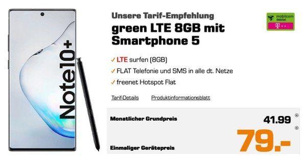 Galaxy Note 10 Plus (Wert 945€) für 79€ mit Allnet Flat im Telekom Netz mit SMS und 8GB LTE für 41,99€ mtl.