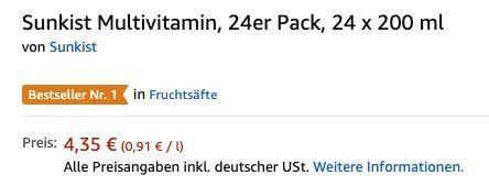Ausverkauft! 24er Pack Sunkist Multivitamin (je 200ml) ab 4,35€(statt 12€)