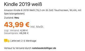 Ausverkauft! Amazon Kindle 6 (2019) in Weiß mit Frontlicht inkl. Spezialangeboten für 48,98€(statt 79€)