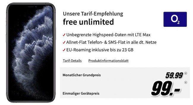 iPhone 11 Pro 64GB für 99€ + o2 Allnet Flat mit unendlich LTE Datenvolumen für 59,99€mtl.