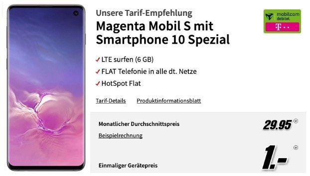 Samsung Galaxy S10 128GB für 1€ mit Telekom Allnet Flat mit 6GB LTE 300 Mbit für 29,95€ mtl.