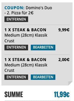 Dominos: Jede zweite Pizza nur 2€   auch bei 4 oder 6 Stück
