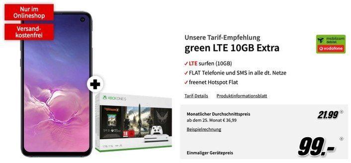 🔥 Samsung Galaxy S10e + Xbox One S Division 2 nur 99€ + Vodafone Allnet Flat mit 10GB LTE für 21,99€ mtl.