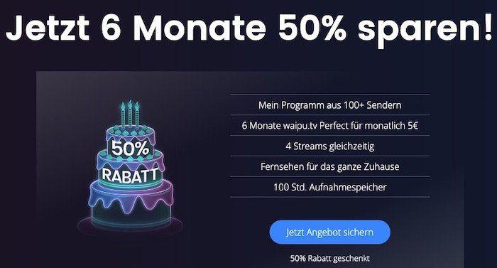 🔥 50% Rabatt: 6 Monate waipu.tv Perfect Streaming für sehr gute 30€ (statt 59,94€)
