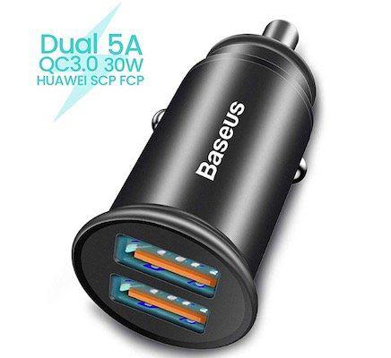 Baseus Kfz Ladegerät 5A 30W Dual QC3.0 für 6,49€(statt 13€)   Prime