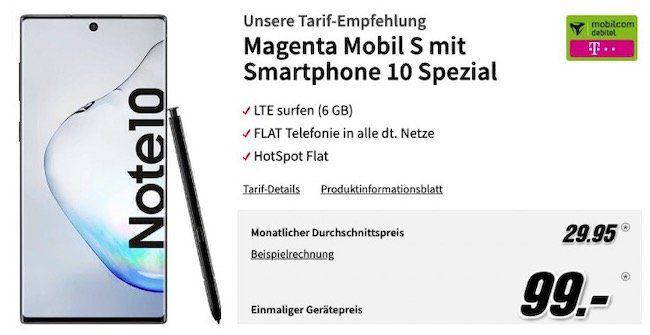 Samsung Galaxy Note 10 für 99€ + Telekom Flat mit 6GB LTE für rechn. 29,95€mtl.