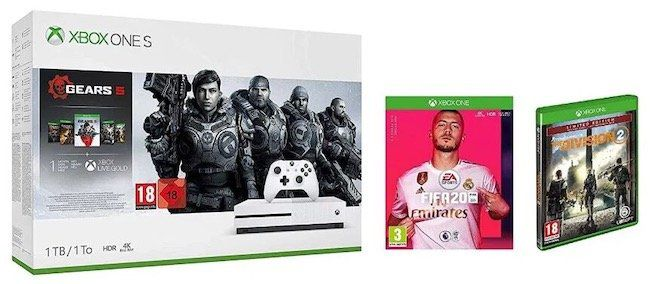 Xbox One S 1TB Gears 5 Bundle + Tom Clancys The Division 2 + FIFA 20 für 234€ (statt 370€)