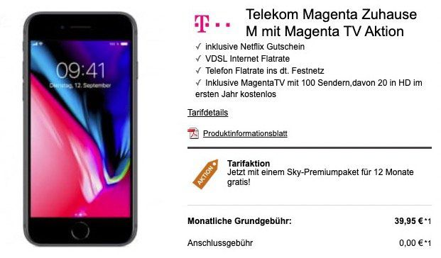iPhone 8 für 4,99€ + Telekom VDSL (50 Mbit/s) + 1 Jahr MagentaTV + 1 Jahr Sky Paket für 39,95€ mtl.