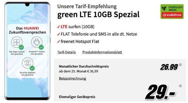 Pricedrop! Huawei P30 Pro 128GB für 29€ + Allnet & SMS Flat Vodafone + 10GB LTE für 26,99€mtl.