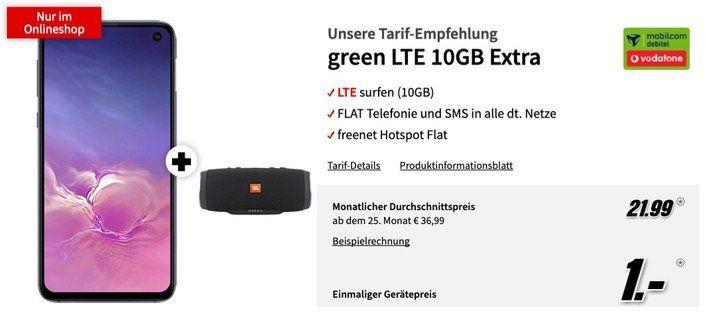 Galaxy S10e + JBL Charge 3 für 1€ + 10GB LTE Vodafone Flat für 21,99€ mtl.