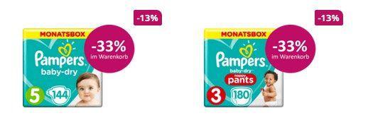 Pampers Windeln und Pants mit 33% Rabatt   z.B. Monatspackung ab 18,79€