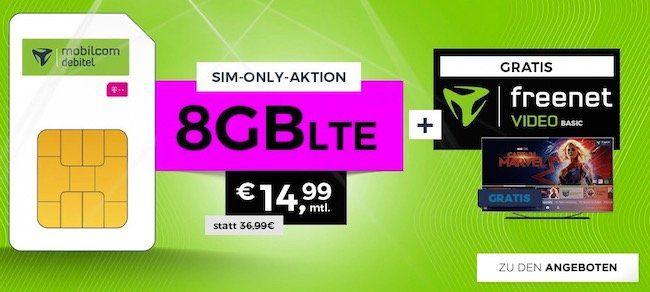 Telekom Allnet Flat mit 8GB LTE für 14,99€mtl. + freenet Video Basic gratis