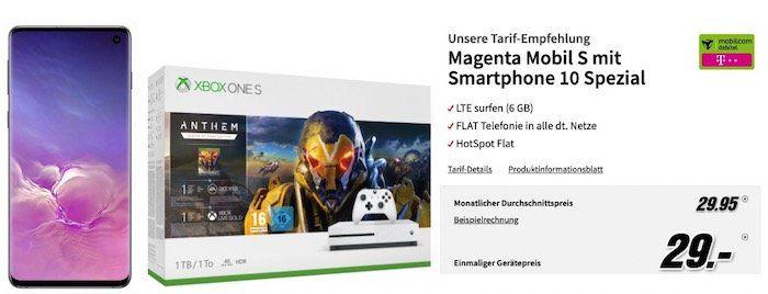 Samsung Galaxy S10 + Xbox One S Anthem Bundle nur 29€ + Telekom Flat mit 6GB LTE für rechn. 29,95€ mtl.