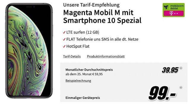 Apple iPhone XS 64GB für 99€ + Telekom Flat mit 12GB LTE für rechn. 39,95€mtl.