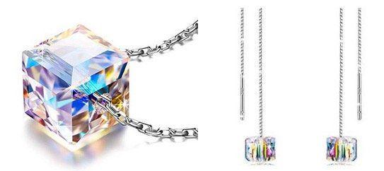 Alex Perry Damen Halskette + Paar Ohrringe aus 925er Sterling Silber mit Kristall von Swarovski für 12,99€ (statt 51€)