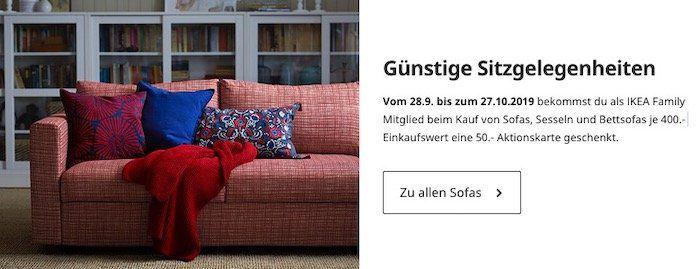 IKEA Family: Beim Kauf von Sofa, Sessel oder Bettsofa pro 400€ Warenwert einen 50€ IKEA Gutschein bekommen