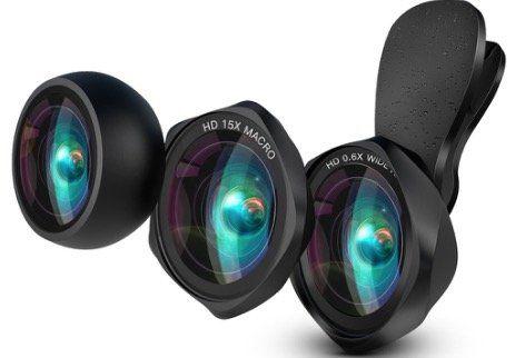 Luxsure Smartphone HD Objektiv Set mit Weitwinkel + 15x Makro + Fisheye Objektiv für 20,39€ (statt 34€)