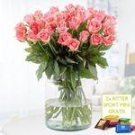 40 Rosen im zarten Pink + 2 gratis Ritter Sport Mini-Schokis für 24,90€