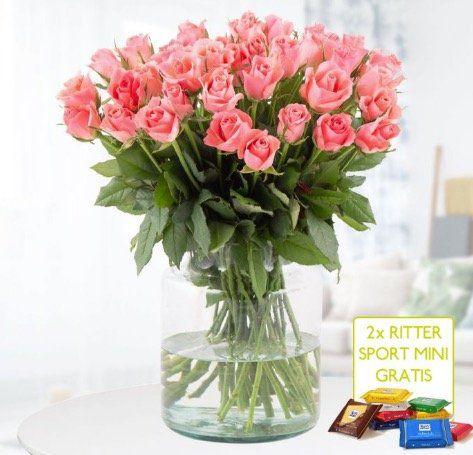 40 Rosen im zarten Pink + 2 gratis Ritter Sport Mini Schokis für 24,90€