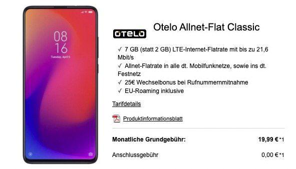 Xiaomi Mi 9T Pro für 99€ + Vodafone Flat mit 7GB LTE für 19,99€mtl.