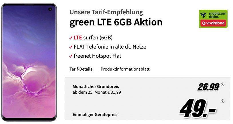 Samsung Galaxy S10 für 49€ + Vodafone Flat mit 6GB LTE für 26,99€ mtl.