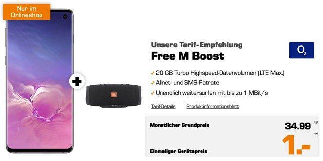 Galaxy S10 + JBL Charge 3 + Galaxy Buds für 1€ + 20GB LTE Max O2 Flat für 34,99€ mtl.