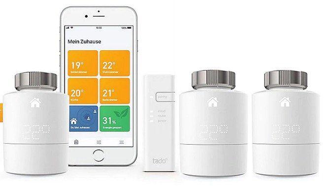 tado Smartes Heizkörper Thermostat Starter Kit V3+ inkl. 3 Thermostate für 179,95€ (statt 213€)