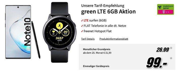 Ausverkauft! Galaxy Note 10 + Watch Active + Buds für 99€ + Telekom AllnetFlat mit 6GB LTE für 26,99€  effektiver Gewinn!