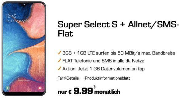 Samsung Galaxy A20e für 1€ + o2 Flat mit 4GB LTE für 9,99€mtl.   auch Galaxy A40 und A70