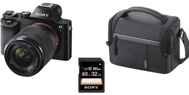 SONY Alpha 7 KB Systemkamera Kit mit 28 70 mm Objektiv + Tasche + 32GB ab 545€ (statt 712€)