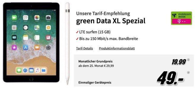 🔥 iPad 2018 LTE mit 32GB + Apple Pencil für 49€ + Telekom 15GB LTE Datenflat für 19,99€ mtl.