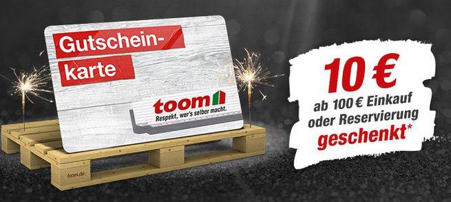 Toom Baumarkt: Jetzt ab 100€ Warenwert 10€ TOOM Gutschein