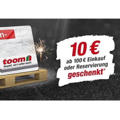 Toom Baumarkt: Jetzt ab 100€ Warenwert 10€ TOOM-Gutschein