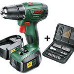 Bosch PSR 1800 LI Akku Bohrschrauber + 2 Akku 1.5 Ah + Zubehör 51 Teile + Koffer für 79,99€ (statt 103€)